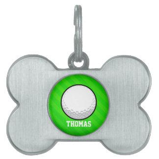 Pelota de golf; Rayas verdes de neón Placa De Nombre De Mascota