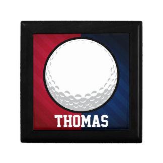 Pelota de golf; Rojo, blanco, y azul Joyero Cuadrado Pequeño