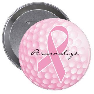Pelota de golf rosada - ayuda del cáncer pin redondo de 4 pulgadas