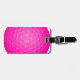 Pelota de golf rosada etiquetas bolsa
