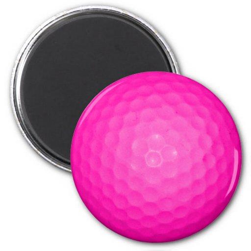 Pelota de golf rosada imanes para frigoríficos