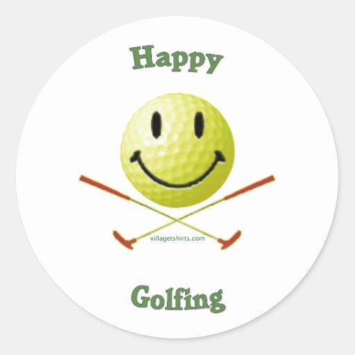 Pelota de golf sonriente Golfing feliz Pegatina Redonda
