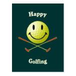 Pelota de golf sonriente Golfing feliz Postal
