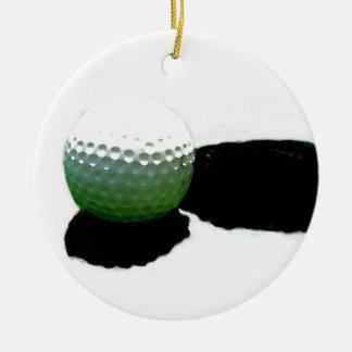 Pelota de golf y agujero adorno navideño redondo de cerámica