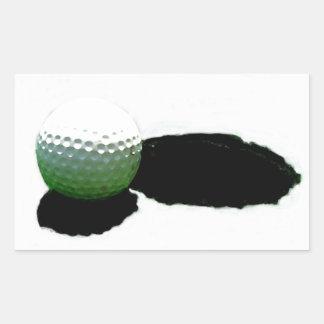 Pelota de golf y agujero pegatina rectangular