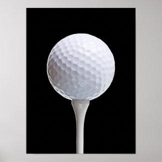Pelota de golf y camiseta en el negro - plantilla  póster