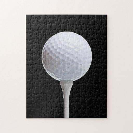 Pelota de golf y camiseta en el negro - plantilla  rompecabezas