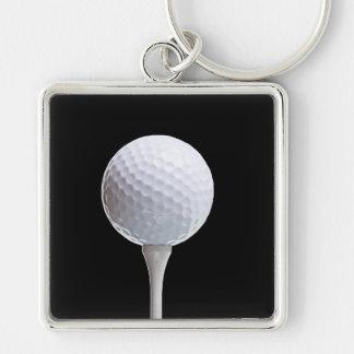 Pelota de golf y camiseta en Negro modificado para Llavero Cuadrado Plateado