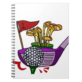 Pelota de golf y clubs de la diversión Golfing Notebook