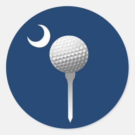 Pelota de golf y creciente de Carolina del Sur Pegatina Redonda