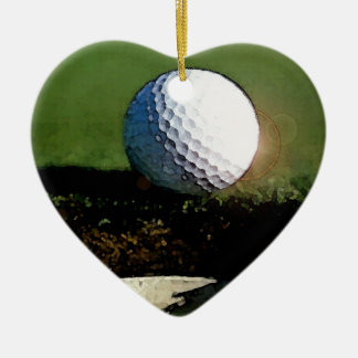 Pelota de golf y el agujero adorno navideño de cerámica en forma de corazón