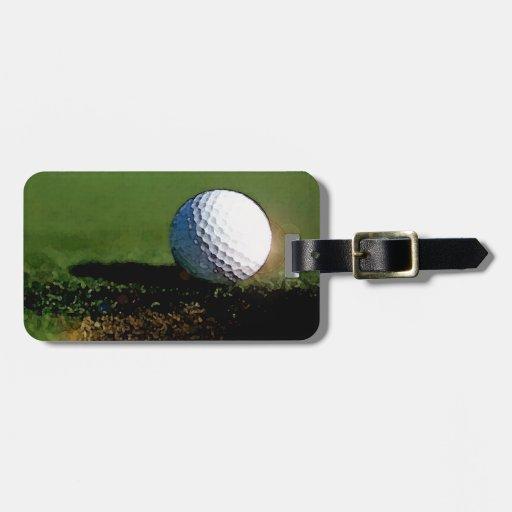 Pelota de golf y el agujero etiquetas maleta