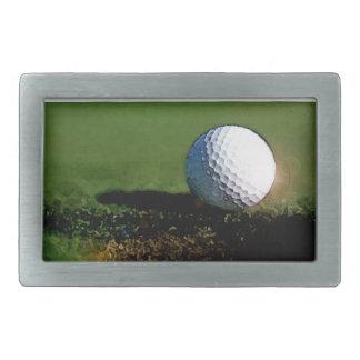Pelota de golf y el agujero hebilla de cinturón rectangular
