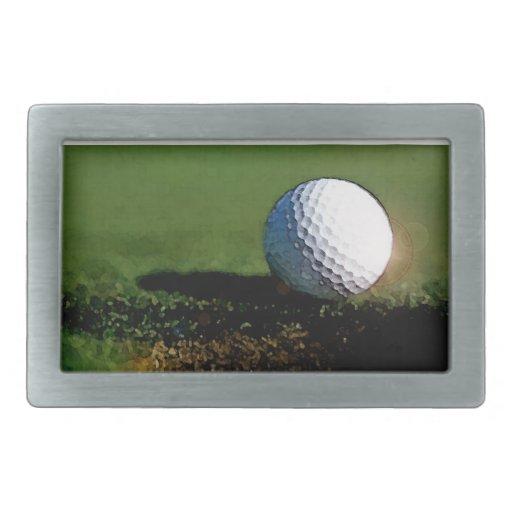 Pelota de golf y el agujero hebillas de cinturon rectangulares