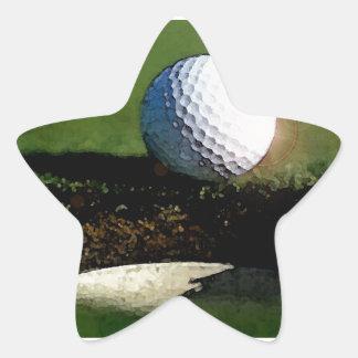 Pelota de golf y el agujero pegatina en forma de estrella