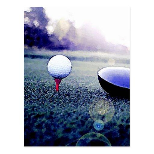Pelota de golf y palo postal