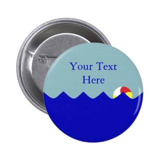 Pelota de playa de la piscina (personalizable) pin redondo de 2 pulgadas