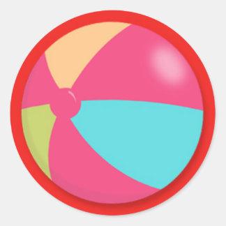 Pelota de playa en colores pastel colorida pegatina redonda