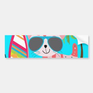 Pelota de playa linda de las gafas de sol del gato pegatina para auto