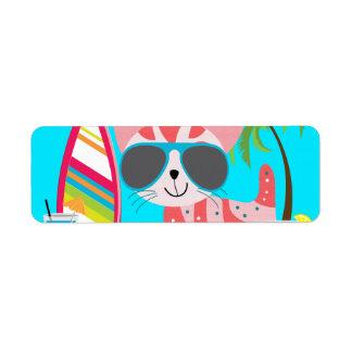 Pelota de playa linda de las gafas de sol del gato etiquetas de remite