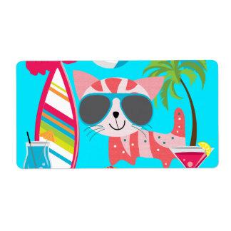 Pelota de playa linda de las gafas de sol del gato etiqueta de envío
