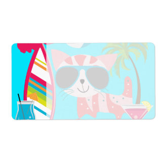 Pelota de playa linda de las gafas de sol del gato etiquetas de envío