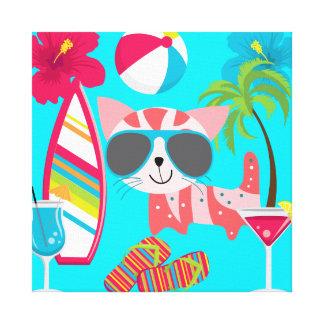 Pelota de playa linda de las gafas de sol del gato impresión en lienzo