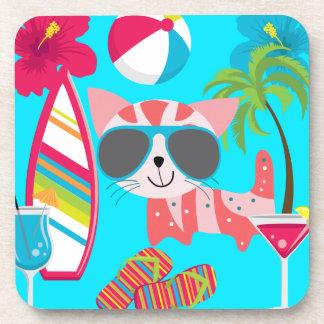 Pelota de playa linda de las gafas de sol del gato posavasos