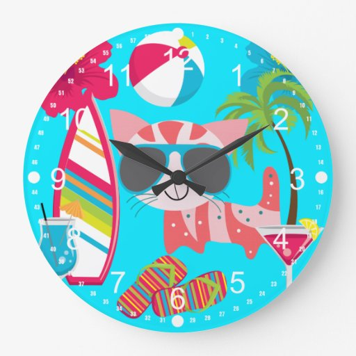 Pelota de playa linda de las gafas de sol del gato reloj redondo grande