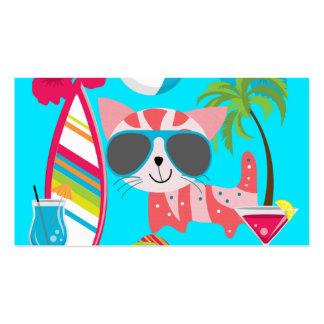 Pelota de playa linda de las gafas de sol del gato tarjetas de visita