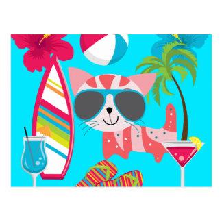 Pelota de playa linda de las gafas de sol del gato tarjetas postales