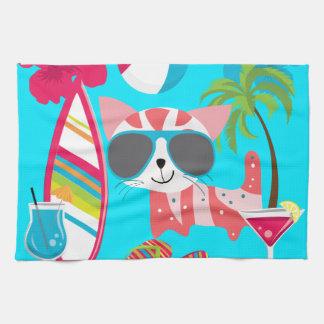 Pelota de playa linda de las gafas de sol del gato toallas