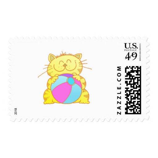 Pelota de playa linda del juego del gatito sellos postales