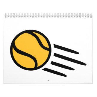 Pelota de tenis amarilla calendarios