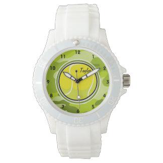 Pelota de tenis; camo verde claro, camuflaje relojes de pulsera