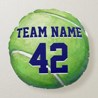 Pelota de tenis con nombre y número del equipo cojín redondo