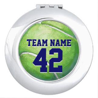 Pelota de tenis con nombre y número del equipo espejos para el bolso
