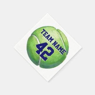 Pelota de tenis con nombre y número del equipo servilletas de papel