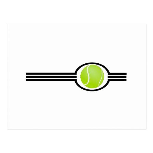 Pelota de tenis de tres rayas postal
