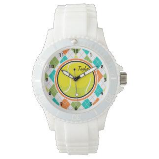 Pelota de tenis en el modelo colorido de Argyle Relojes