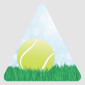 pelota de tenis en hierba pegatina triangular