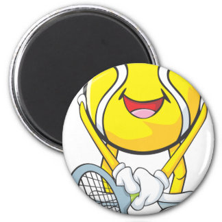 Pelota de tenis feliz imán redondo 5 cm