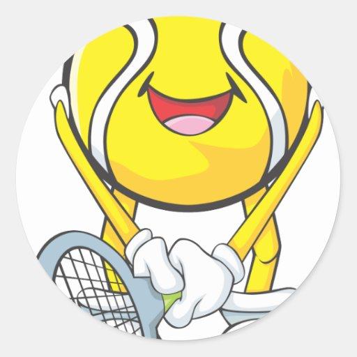 Pelota de tenis feliz pegatina redonda