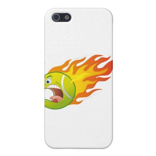 Pelota de tenis llameante iPhone 5 protectores