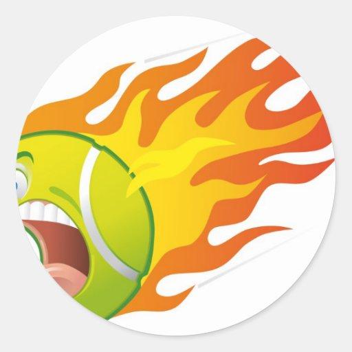 Pelota de tenis llameante pegatina redonda