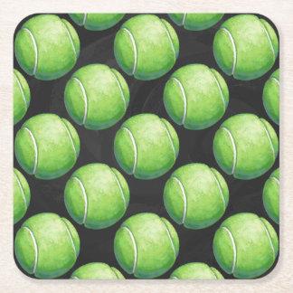 Pelota de tenis posavasos desechable cuadrado