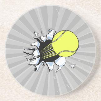 pelota de tenis que rasga a través posavasos diseño