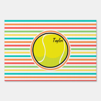 Pelota de tenis; Rayas brillantes del arco iris Cartel