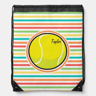 Pelota de tenis; Rayas brillantes del arco iris Mochilas
