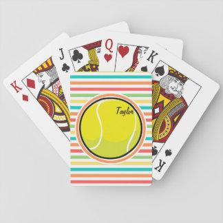 Pelota de tenis; Rayas brillantes del arco iris Baraja De Póquer